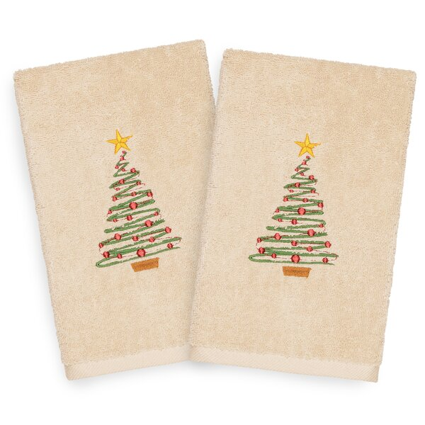 Beam Tree Embroidered Luxury 100% Turkish Cotton Hand Towel (Set of 2) by The Holiday Aisle
